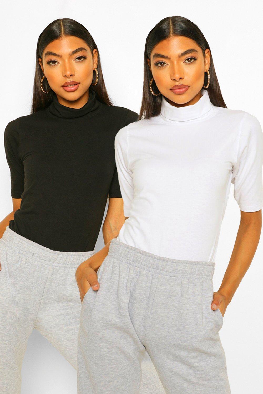 womens tall basic cotton 2 pack high neck top set - black & white - 8