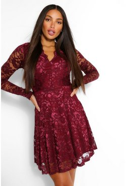 Tall Plunge Lace Skater Dress, Berry