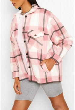 Pink Tall Check Shacket