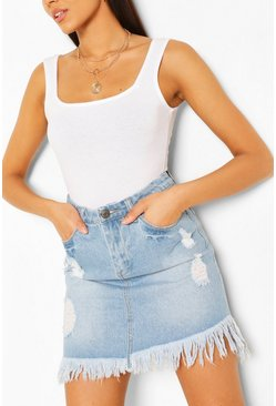 Light blue Tall Denim Frayed Hem Mini Skirt