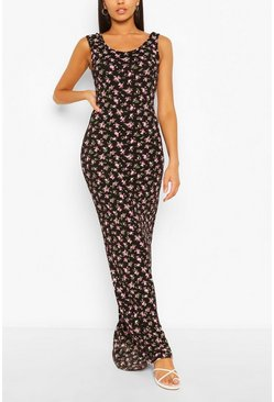 Black Tall Basic Ditsy Floral Print Maxi Dress