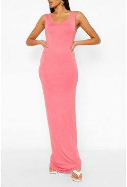 Coral Tall Basic Maxi Dress