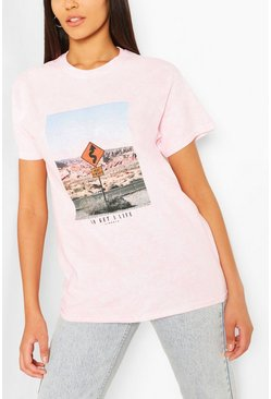 Tall Acid Wash Retro Graphic Oversized T-Shirt, Pink
