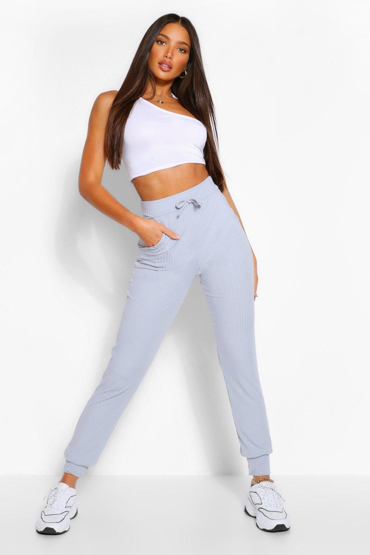 womens tall rib high waist joggers - grey - 2
