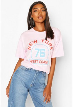 Tall - T-shirt coupe oversize « New York West Coast », Rose
