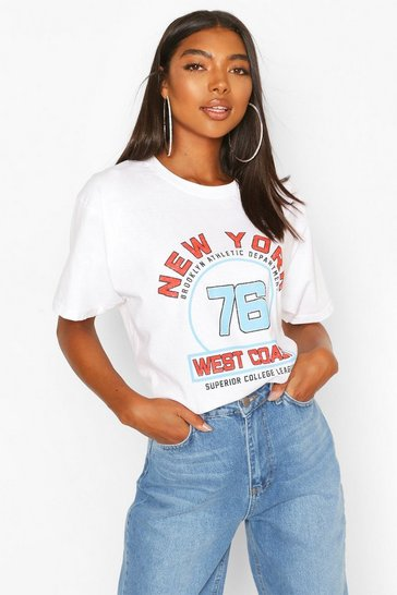 White Tall 'New York West Coast' Oversized T-Shirt