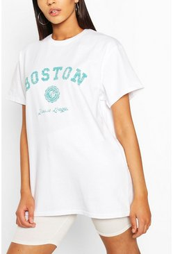 White Tall 'Boston' Oversized T-Shirt