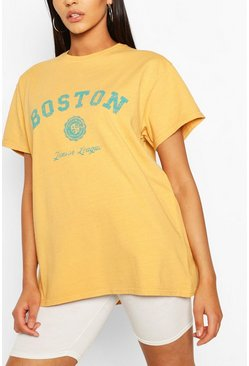 Yellow Tall 'Boston' Oversized T-Shirt