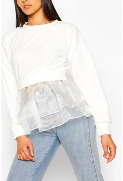 White Tall Organza Layered Top
