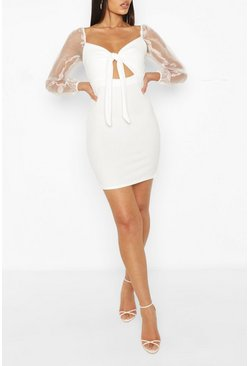 Ivory Tall Organza Sleeve Tie Front Dress