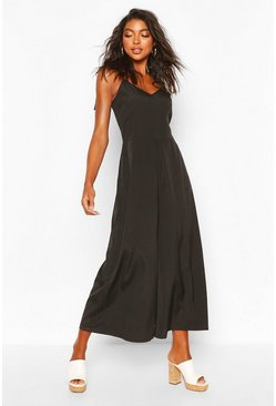 Black Tall Tie Shoulder Beach Jumpsuit