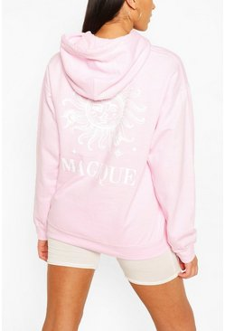 Light pink Tall Oversized Cosmos Print Hoody