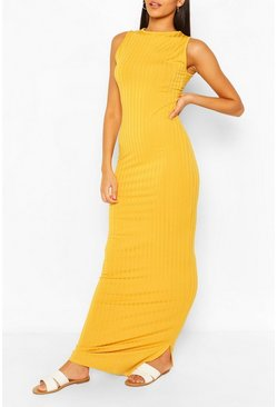 Mustard Tall Rib High Neck Maxi Dress