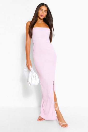 Pink Tall Rib Bandeau Split Maxi Dress