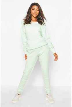 Mint Tall Slash Neck Knitted Lounge Set