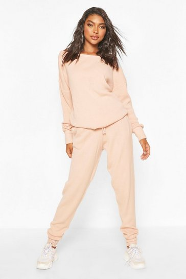 Peach Tall Slash Neck Knitted Lounge Set