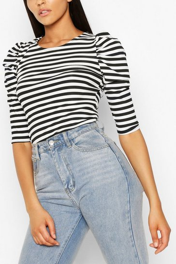 Navy Tall Rib Stripe Puff Shoulder Top