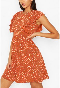 Rust Tall Woven Polka Dot Print Smock Dress