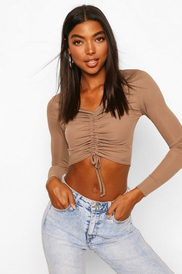 Mocha Tall Basic Rib Ruched Front Crop Top