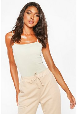 Tall Basic Rib Strappy Bodysuit, Sage