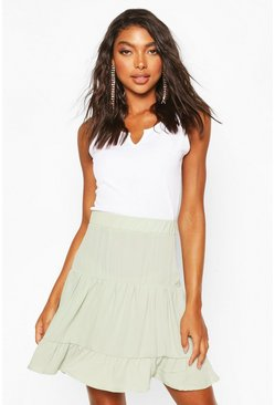 Tall Woven Tiered Skater Skirt, Sage