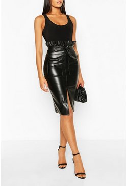 Black Tall PU Paperbag Waist Split Midi Skirt