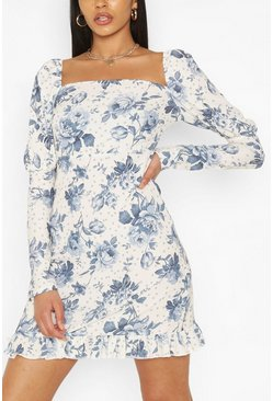 Ivory Tall Woven Spot Floral Print Puff Sleeve Dress