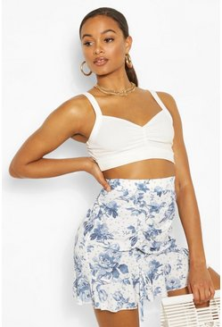 Tall Woven Spot Floral Print Ruched Skirt, Ivory