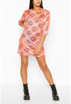Pink Tall Sun Tie Dye Mesh T-Shirt Dress