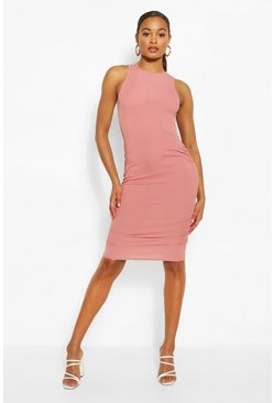 Blush Tall Ribbed Ruched Side Mini Dress