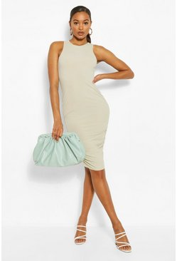Tall Ribbed Ruched Side Mini Dress, Sage