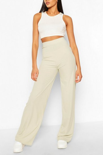 Sage Tall Ribbed High Waist Flare Trousers