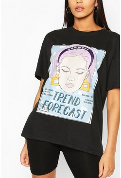 Black Tall 'Trend Forecast' T-Shirt