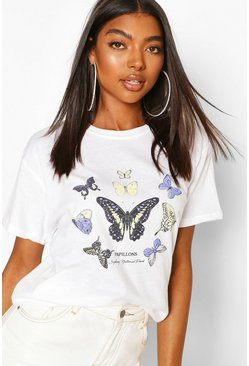 White Tall Butterfly Slogan T-Shirt