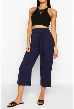 Navy Tall Belted Woven Culottes