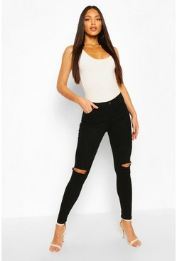 Black Tall Denim Split Knee Cropped Jeans