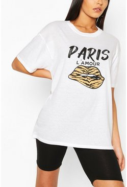 White Tall 'Paris L'Amour' Lips Oversized T-Shirt
