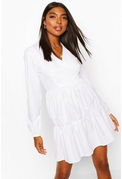 White Tall Tiered Smock Dress