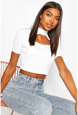 White Tall Mandarin Cut Out Crop Top