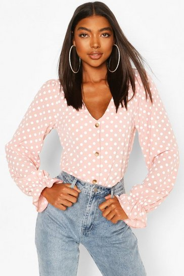 Pink Tall Woven Polka Dot V-Neck Blouse