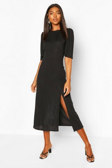 Black Tall Rib Puff Sleeve Midi Dress