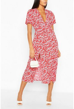 Red Tall Floral Midi Dress