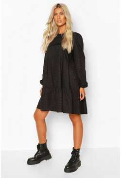 Black Tall Broderie Anglaise Smock Dress