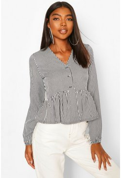 Black Tall Gingham Woven Peplum Top