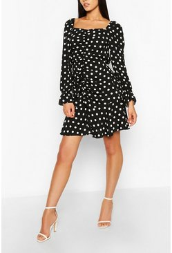 Black Tall Polka Dot Ruched Front Dress