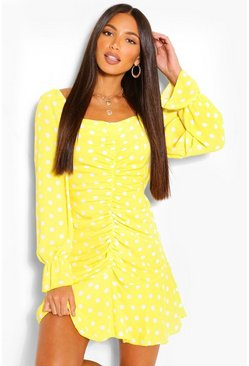 Yellow Tall Polka Dot Ruched Front Dress