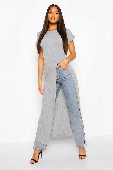 Grey marl Tall Basic Jersey Maxi Split Top