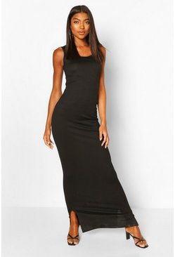 Black Tall Basic Rib Scoop Neck Maxi Dress