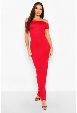 Red Tall Basic Rib Bardot Maxi Dress