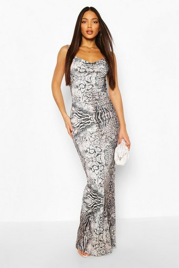 Stone Tall Animal Print Cowl Neck Maxi Dress